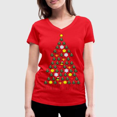Smiley World Humour Quotes Lit Christmas Tree - Women's Organic V-Neck T-Shirt by Stanley & Stella