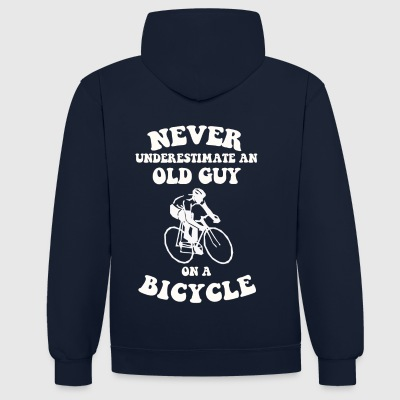 Never underestimate an old guy on a bicycle - Contrast Colour Hoodie