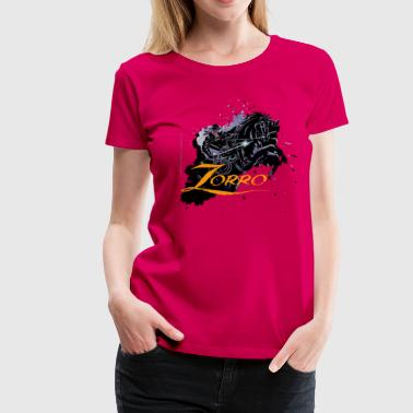 Zorro Riding On His Black Mount Tornado - Women's Premium T-Shirt