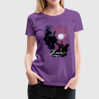 Zorro Hero By Night In Front Of A Full Moon - Vrouwen Premium T-shirt