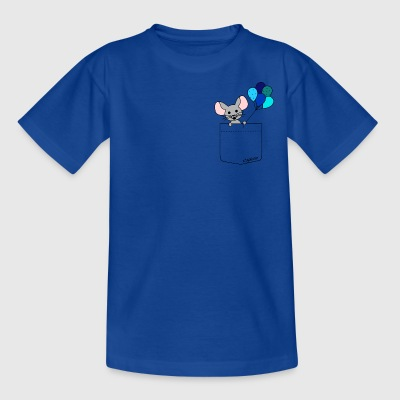 pocket friend - mouse with blue balloons - Kinder T-Shirt