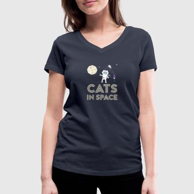 Cats in outer space Stfb7 T-Shirts - Women's Organic V-Neck T-Shirt by Stanley & Stella
