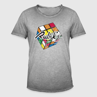 Rubik's Cube Colourful Retro Magic Cube - Koszulka męska vintage