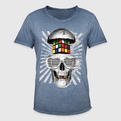 Rubik's Cube Skull With Sunglasses - Vintage-T-shirt herr