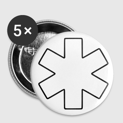 Weiß Star-of-Life Buttons / Anstecker - Buttons mittel 32 mm