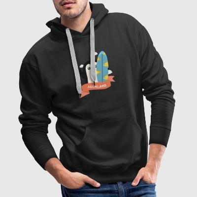 Penguin Surfer from Auckland Suxlae Hoodies & Sweatshirts - Men's Premium Hoodie