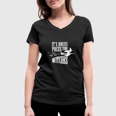 Its Hocus Pocus Time Witches Women Men Halloween T-Shirts - Women's Organic V-Neck T-Shirt by Stanley & Stella