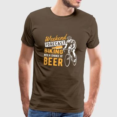 Weekend forecast biking with a chance of beer T-Shirts - Men's Premium T-Shirt