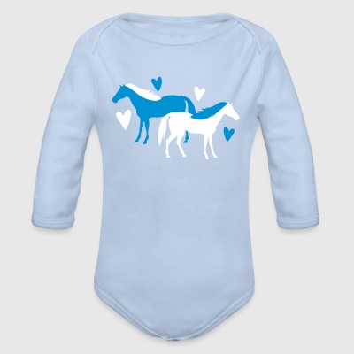 horse lovers with cute hearts Baby Bodysuits - Organic Longsleeve Baby Bodysuit
