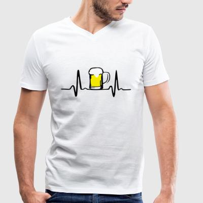 Beer and Heartbeat T-Shirts - Men's Organic V-Neck T-Shirt by Stanley & Stella