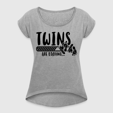 Twins are loading - twins-pregnancy-baby T-Shirts - Women's T-shirt with rolled up sleeves