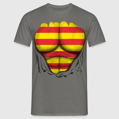catalan  Flag Ripped Muscles six pack chest  T-Shirts - Men's T-Shirt