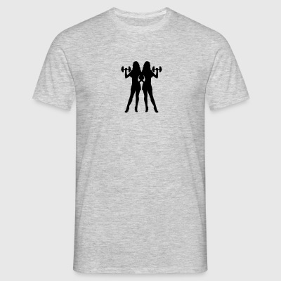 3 friends team crew outline hand arm muscles stron T-Shirts - Men's T-Shirt