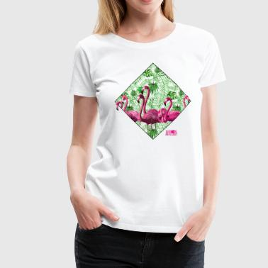 Animal Planet Flock Of Flamingos And Plants - Women's Premium T-Shirt