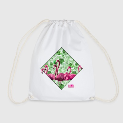 Animal Planet Flock Of Flamingos And Plants - Drawstring Bag