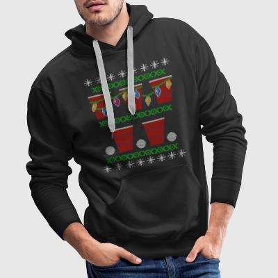 Funny Ugly Christmas Beer Pong Pattern - Men's Premium Hoodie