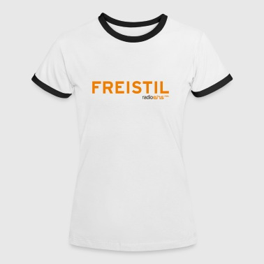 Frauen Kontrast-T-Shirt Freistil radioeins orange - Frauen Kontrast-T-Shirt