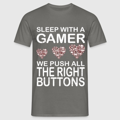 Gamer - Sleep with a gamer we push all the right  - Men's T-Shirt