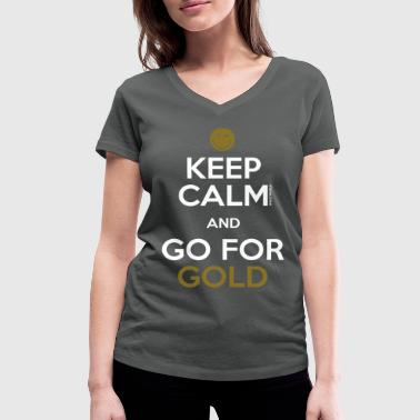 SmileyWorld Keep Calm and Go for Gold - Women's Organic V-Neck T-Shirt by Stanley & Stella