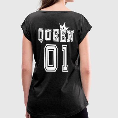 Valentine's Matching Couples Queen Crown Jersey - T-shirt med upprullade ärmar dam