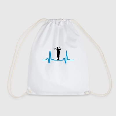 Golf, Golfer and Heartbeat Bags & Backpacks - Drawstring Bag