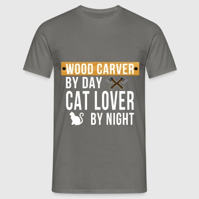 Wood carving - Wood carver by day cat lover by  - Men's T-Shirt
