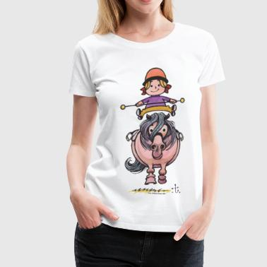 Thelwell Rider Balancing On Cute Horse - Camiseta premium mujer