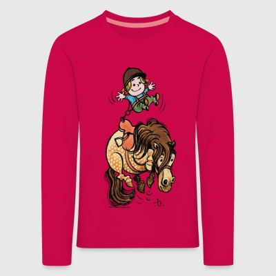 Thelwell Funny Illustration Bucking Horse - Premium langermet T-skjorte for barn