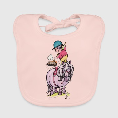 Thelwell Rider Cleaning Their Horse - Baby Organic Bib