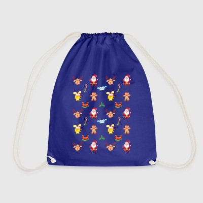 Santa, reindeer, bunny and cookie man Xmas pattern Bags & Backpacks - Drawstring Bag