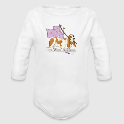 Peace, dog and peace sign Baby Bodysuits - Organic Longsleeve Baby Bodysuit
