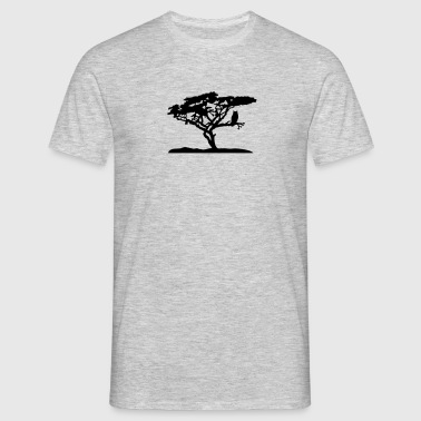tree silhouette black outline branch sitting owl o T-Shirts - Men's T-Shirt
