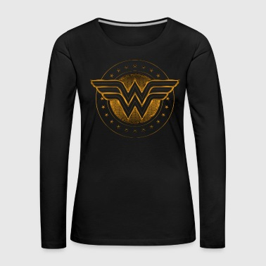 DC Comics Wonder Woman Logo gold - Premium langermet T-skjorte for kvinner