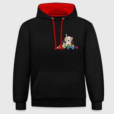 beagle with a brush Hoodies & Sweatshirts - Contrast Colour Hoodie
