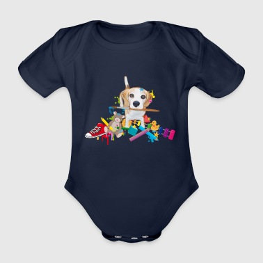 beagle with a brush Baby Bodysuits - Organic Short-sleeved Baby Bodysuit