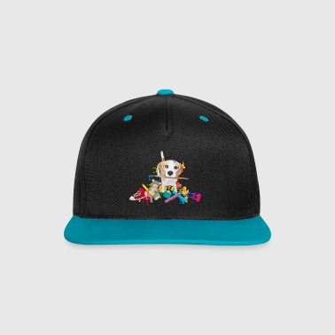 beagle with a brush Caps & Hats - Contrast Snapback Cap