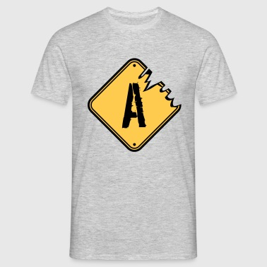 A warning danger sign scratch old road sign cautio T-Shirts - Men's T-Shirt