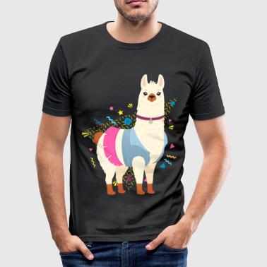 90s Style Llama T-shirts - Slim Fit T-shirt herr