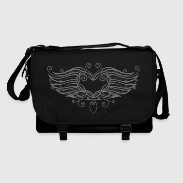 Filigree Tattoo Heart with wings. Bags & Backpacks - Shoulder Bag