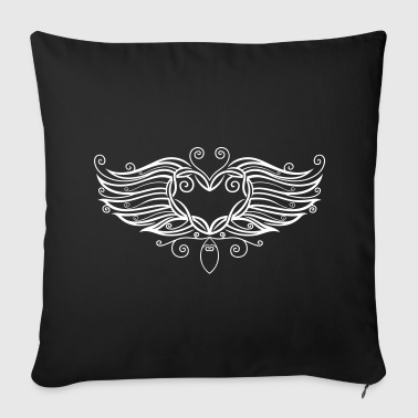 Filigree Tattoo Heart with wings. Other - Sofa pillow cover 44 x 44 cm