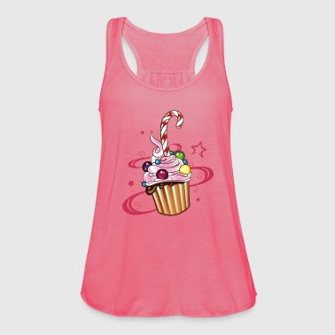 Colorful Muffin with sweets and candy cane. Tops - Women's Tank Top by Bella