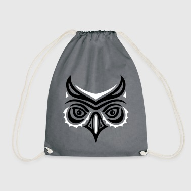 Big owl head in Haida tattoo style. Owl face.  Bags & Backpacks - Drawstring Bag