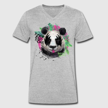 Animal Planet Giant Panda Rock And Roar - Men's Organic V-Neck T-Shirt by Stanley & Stella