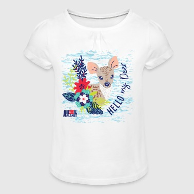 Animal Planet Too Cute Hello My Deer Quote - Girl's T-shirt with Ruffles