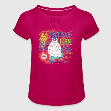 Animal Planet Too Cute Emperor Penguin Chick - Girl's T-shirt with Ruffles
