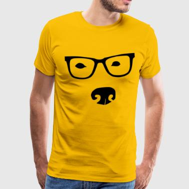 Male - Dog with Glasses Plain - Men's Premium T-Shirt