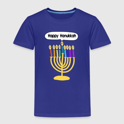 Happy Hanukkah cute cartoon smiley menorah Shirts - Kids' Premium T-Shirt
