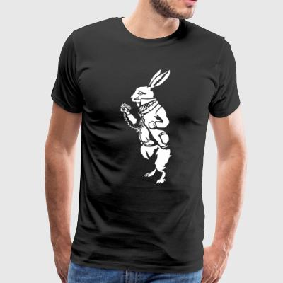 Alice's White rabbit (negative) T-Shirts - Men's Premium T-Shirt