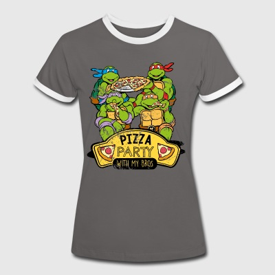 TMNT Turtles Pizza Party With My Bros - Camiseta contraste mujer