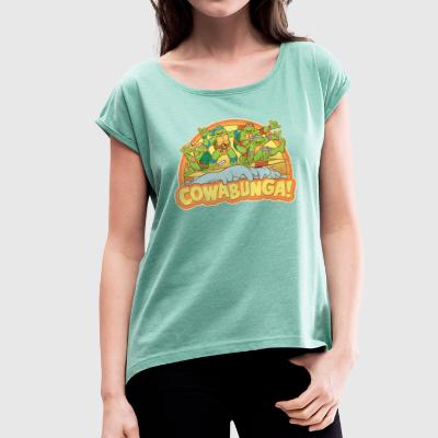 TMNT Teenage Mutant Surfing Turtles - Camiseta con manga enrollada mujer